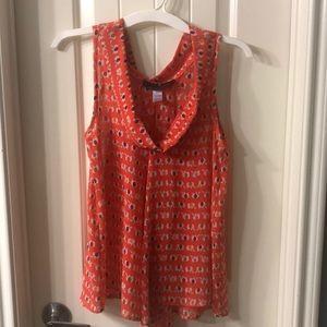 Tops - Orange elephant print swing blouse